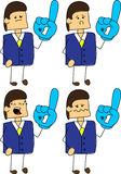 Set of doodle sad businessman sports fan with glove Stock Photo
