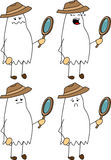 Set of doodle sad detective ghost Stock Images