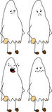 Set of doodle sad ghost Royalty Free Stock Photography