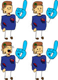 Set of doodle sad zombie sports fan with glove Royalty Free Stock Photography