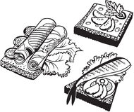 Set of Doodle Sandwiches. Set of Sandwiches, black and white vector illustration Royalty Free Stock Photo