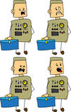 Set of doodle scared business robot, android with a briefcase Stock Photo