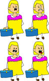 Set of doodle scared business woman with a briefcase Stock Image