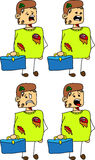 Set of doodle scared business zombie with a briefcase Stock Images