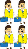 Set of doodle scared businessman with a briefcase Stock Photo