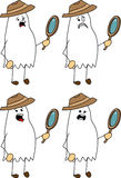 Set of doodle scared detective ghost Royalty Free Stock Image