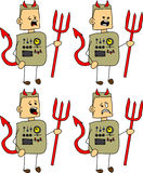 Set of doodle scared devil robot, android Stock Images