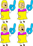 Set of doodle scared woman sports fan with glove Royalty Free Stock Photos
