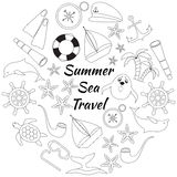 Set of doodle sea travel icons. Isolated black outline items on white background. Sea journey outline doodle set. Isolated black outline items on white Royalty Free Stock Images