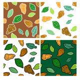 Set of doodle seamless autumns pattern with acorn and leaves. Royalty Free Stock Photo