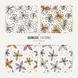 Set of seamless doodle floral patterns. Set of doodle seamless floral patterns. Stylized flowers Stock Photo