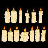 Set of  doodle shining in darkness candles. Set of  doodle bright shining in darkness candles Royalty Free Stock Photos