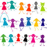Set of doodle silhouettes of kids Royalty Free Stock Photo
