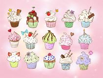 Set of doodle sketch cupcakes with decorations on pink background. Vector illustration. Royalty Free Stock Photo