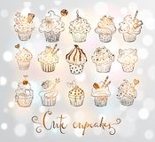 Set of doodle sketch cupcakes with decorations on white glowing background. Vector illustration. Set of doodle sketch cupcakes with decorations. Vector Stock Photo
