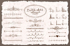Set of doodle sketch decorative dividers Royalty Free Stock Image