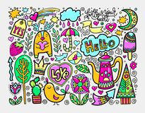 Set of doodle sketch drawing nice elements in bright colors. Vector illustration Royalty Free Stock Photos