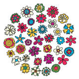 Set of doodle sketch flowers. Collection of doodle flowers icons. Vector illustration. royalty free illustration