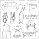Set of doodle sketch furniture Royalty Free Stock Photography