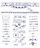 Set of doodle sketch hand drawn love elements. Helpful while creating wedding and bridal shower invitations, cards. Big set of doodle sketch hand drawn heart Royalty Free Stock Photography