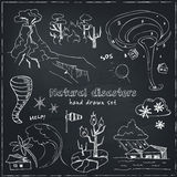 Set of doodle sketch Natural disasters Royalty Free Stock Image