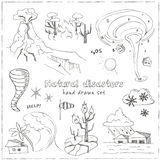 Set of doodle sketch Natural disasters Royalty Free Stock Photos
