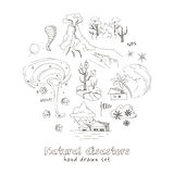 Set of doodle sketch Natural disasters Royalty Free Stock Photography