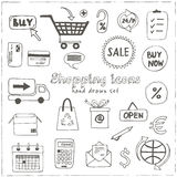 Set of doodle sketch shopping icons Stock Image