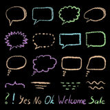 Set of doodle sketch speech bubbles on blackboard hand-drawn with color chalks. Stock Photography