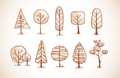 Set of doodle sketch trees in vintage style.  Stock Photos