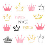 Set of doodle sketch watercolor crowns for your design Stock Images
