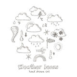 Set of doodle sketch weather icons Royalty Free Stock Image