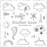 Set of doodle sketch weather icons Royalty Free Stock Photos