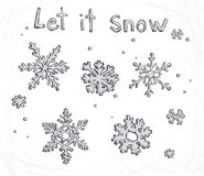 Set of doodle snowflakes. Let it snow. Vector back Royalty Free Stock Image
