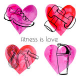 Set of doodle sport equipment with hearts Royalty Free Stock Images