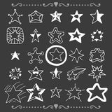 Set of doodle stars. Hand drawn collection Stock Photos