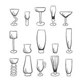 Set of doodle  stemware-3 Stock Images