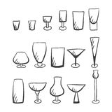 Set of doodle  stemware-4 Royalty Free Stock Photo