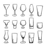 Set of doodle  stemware Stock Images