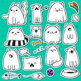 Set of 11 doodle sticker cats with different emotions. Cat handmade Royalty Free Stock Photography