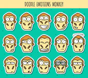 Set 15 doodle sticker heads of monkeys with different emotions. Stock Photography
