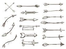 Set doodle strzała plemienny styl Obraz Stock