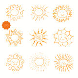 Set of doodle sun icons. Royalty Free Stock Photo