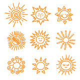 Set of doodle sun icons. Stock Image