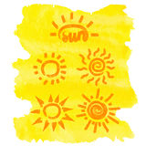 Set of doodle sun icons on watercolor yellow background Royalty Free Stock Photo