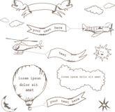 Set doodle sztandary Zdjęcia Royalty Free