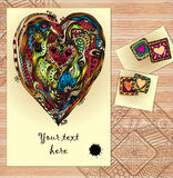 Set of doodle tribal vector love cards on wood. Royalty Free Stock Images