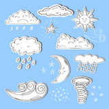 Set of doodle weather icons. Sun, moon, star, clouds Stock Image