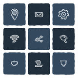 Set of doodle web, computer and connecting icons. Royalty Free Stock Photos