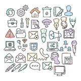 Set of doodle web, computer and drawing icons. Stock Image